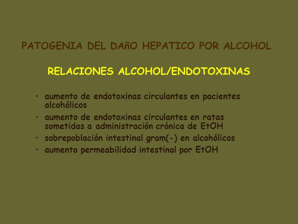 RELACIONES ALCOHOL/ENDOTOXINAS aumento de endotoxinas circulantes en pacientes alcohólicos aumento de endotoxinas circulantes en ratas sometidas a adm