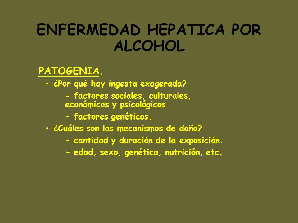 ENFERMEDAD HEPATICA POR ALCOHOL PATOGENIA. ¿Por qué hay ingesta exagerada? - factores sociales, culturales, económicos y psicológicos. - factores gené