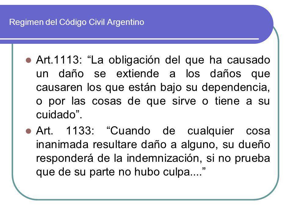 Regimen del Código Civil Argentino Art.1113: La obligación del que ha causado un daño se extiende a los daños que causaren los que están bajo su depen