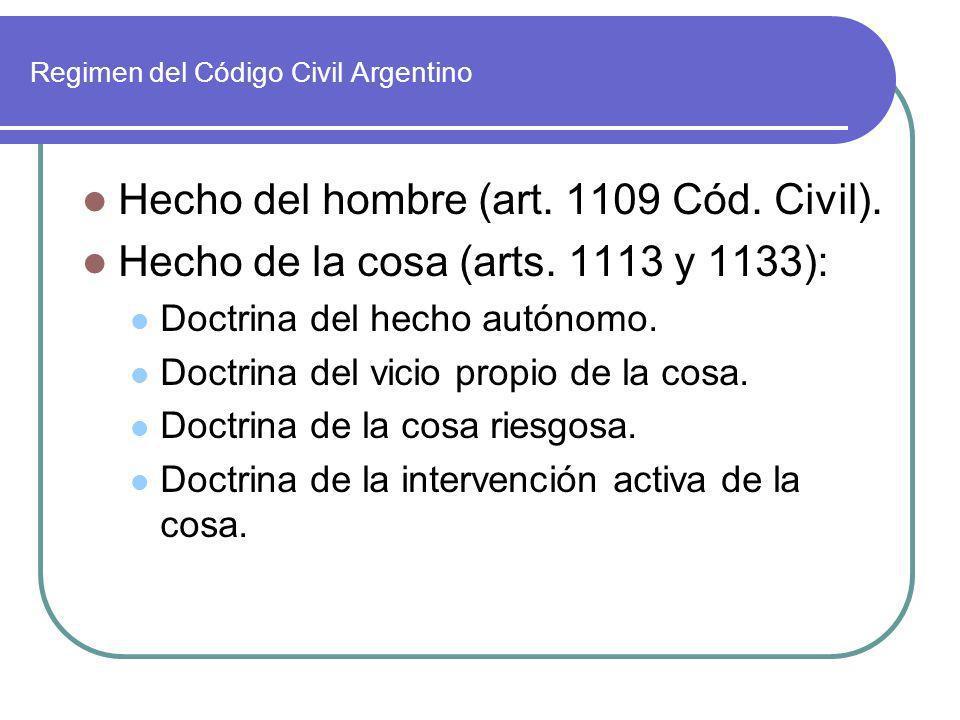 Regimen del Código Civil Argentino Hecho del hombre (art. 1109 Cód. Civil). Hecho de la cosa (arts. 1113 y 1133): Doctrina del hecho autónomo. Doctrin