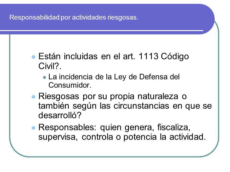Responsabilidad por actividades riesgosas. Están incluidas en el art. 1113 Código Civil?. La incidencia de la Ley de Defensa del Consumidor. Riesgosas