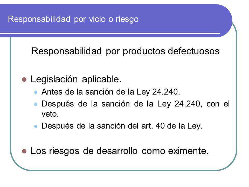 Responsabilidad por vicio o riesgo Responsabilidad por productos defectuosos Legislación aplicable. Antes de la sanción de la Ley 24.240. Después de l