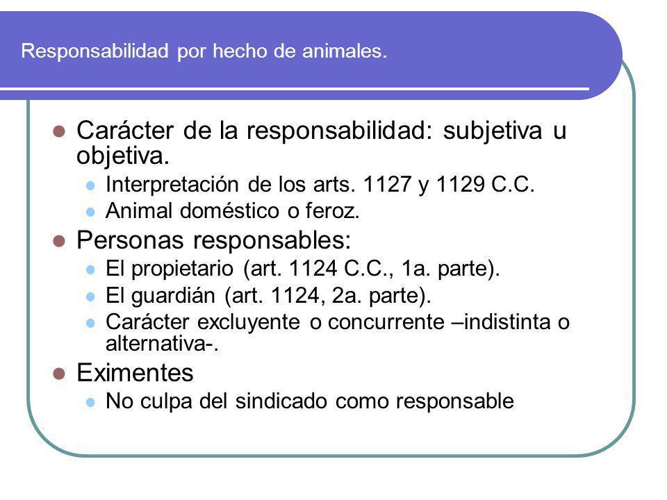 Responsabilidad por hecho de animales. Carácter de la responsabilidad: subjetiva u objetiva. Interpretación de los arts. 1127 y 1129 C.C. Animal domés