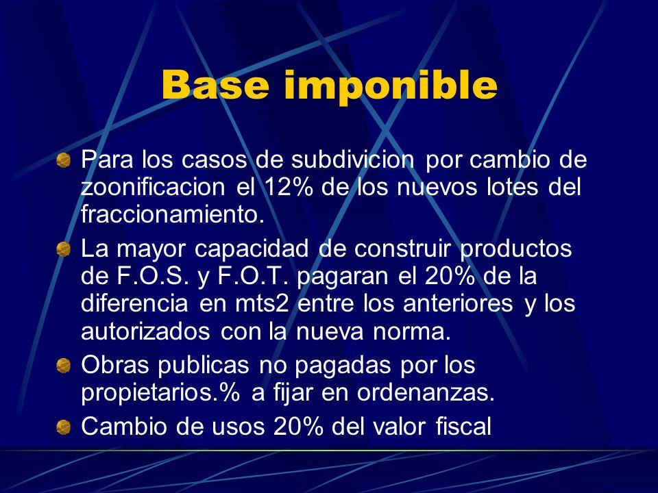 Base imponible Para los casos de subdivicion por cambio de zoonificacion el 12% de los nuevos lotes del fraccionamiento. La mayor capacidad de constru