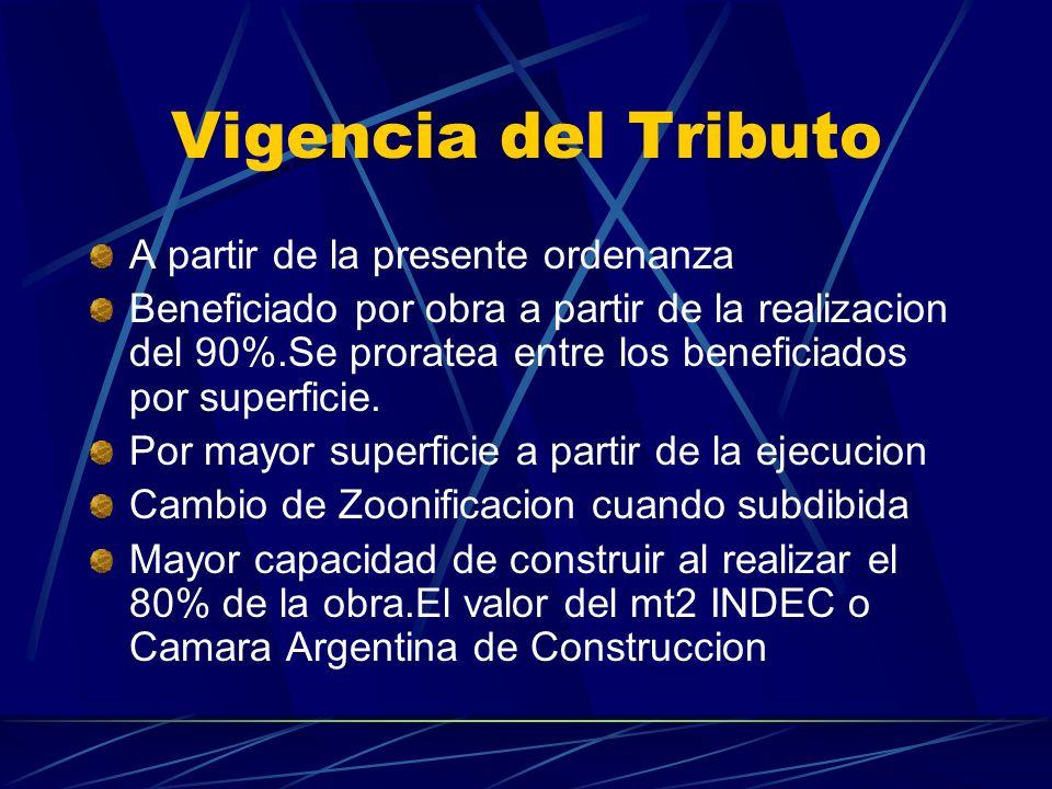 Vigencia del Tributo A partir de la presente ordenanza Beneficiado por obra a partir de la realizacion del 90%.Se proratea entre los beneficiados por