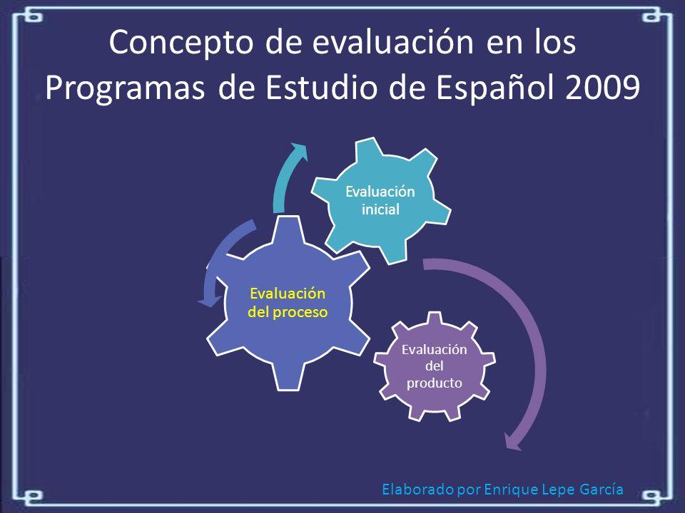 Elaborado por Enrique Lepe García Concepto de evaluación en los Programas de Estudio de Español 2009 Evaluación del producto Evaluación del proceso Evaluación inicial
