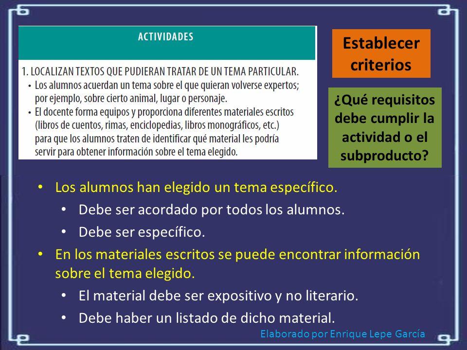 Elaborado por Enrique Lepe García Establecer criterios ¿Qué requisitos debe cumplir la actividad o el subproducto.
