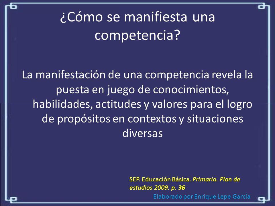 Elaborado por Enrique Lepe García ¿Cómo se manifiesta una competencia.