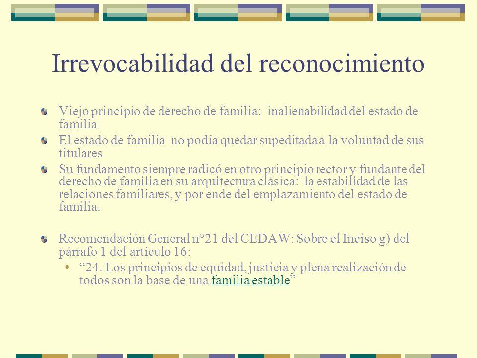 ¿Impugnación de reconocimiento por el propio reconociente? Art.249 y 263 C.Civ.