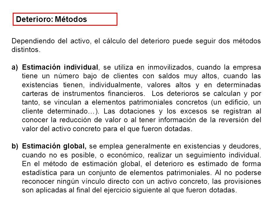 Dependiendo del activo, el cálculo del deterioro puede seguir dos métodos distintos.