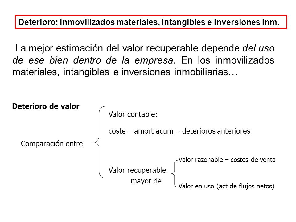 La mejor estimación del valor recuperable depende del uso de ese bien dentro de la empresa.