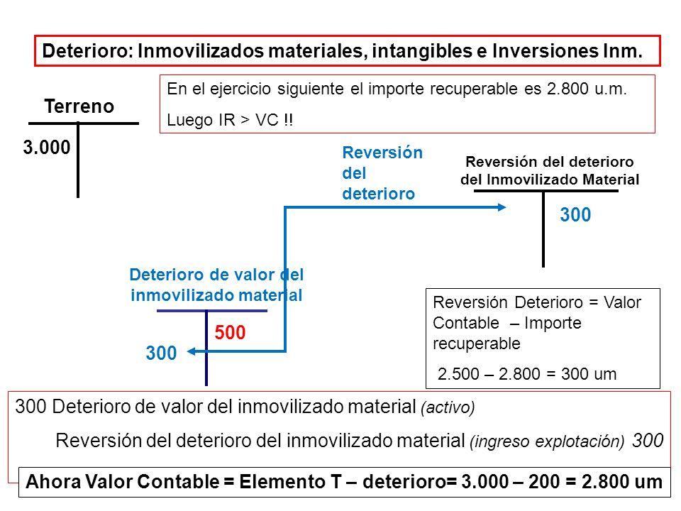Deterioro de valor Inmovilizados materiales, intangibles e Inversiones Inm.