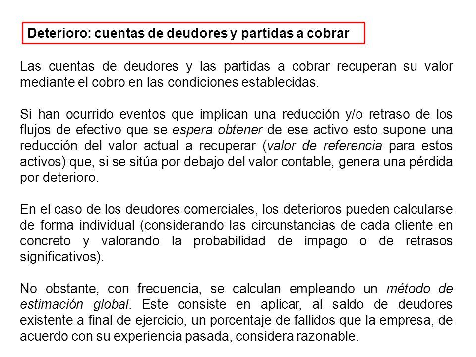 Las cuentas de deudores y las partidas a cobrar recuperan su valor mediante el cobro en las condiciones establecidas.