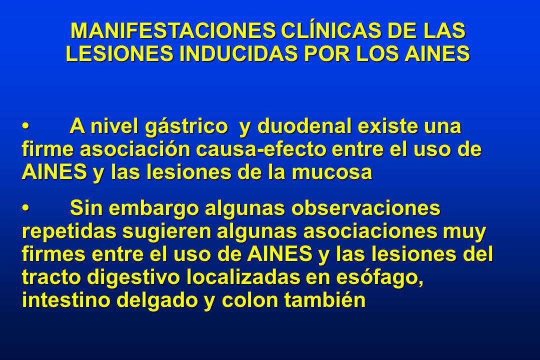 MANIFESTACIONES CLÍNICAS DE LAS LESIONES INDUCIDAS POR LOS AINES A nivel gástrico y duodenal existe una firme asociación causa-efecto entre el uso de AINES y las lesiones de la mucosaA nivel gástrico y duodenal existe una firme asociación causa-efecto entre el uso de AINES y las lesiones de la mucosa Sin embargo algunas observaciones repetidas sugieren algunas asociaciones muy firmes entre el uso de AINES y las lesiones del tracto digestivo localizadas en esófago, intestino delgado y colon tambiénSin embargo algunas observaciones repetidas sugieren algunas asociaciones muy firmes entre el uso de AINES y las lesiones del tracto digestivo localizadas en esófago, intestino delgado y colon también