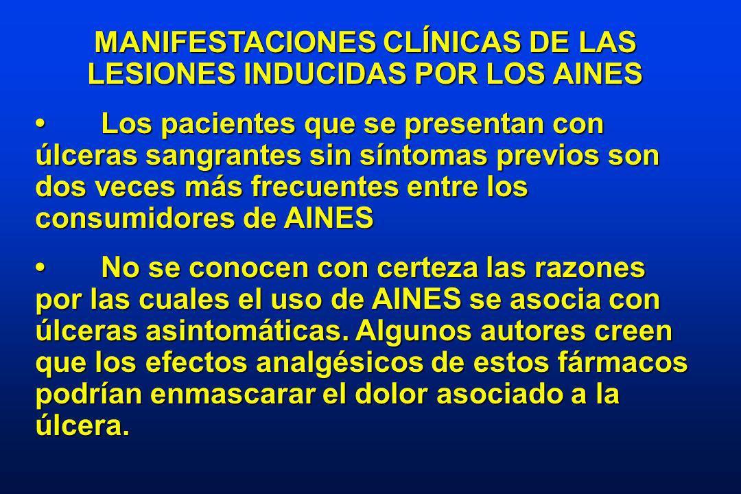 MANIFESTACIONES CLÍNICAS DE LAS LESIONES INDUCIDAS POR LOS AINES Los pacientes que se presentan con úlceras sangrantes sin síntomas previos son dos veces más frecuentes entre los consumidores de AINESLos pacientes que se presentan con úlceras sangrantes sin síntomas previos son dos veces más frecuentes entre los consumidores de AINES No se conocen con certeza las razones por las cuales el uso de AINES se asocia con úlceras asintomáticas.