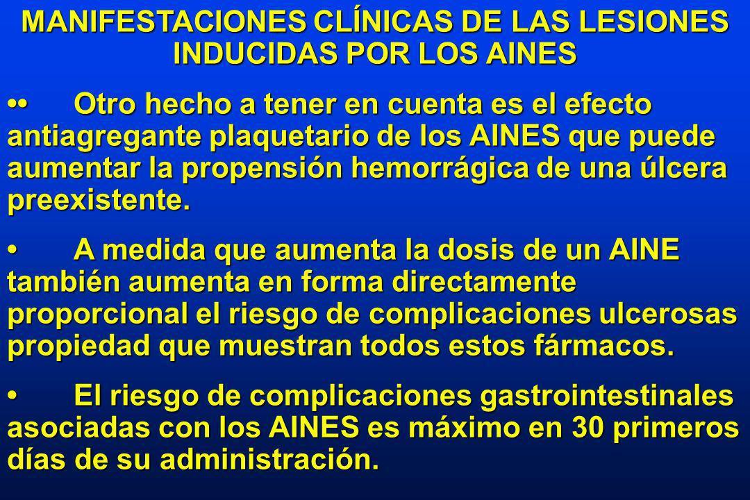 MANIFESTACIONES CLÍNICAS DE LAS LESIONES INDUCIDAS POR LOS AINES Otro hecho a tener en cuenta es el efecto antiagregante plaquetario de los AINES que puede aumentar la propensión hemorrágica de una úlcera preexistente.Otro hecho a tener en cuenta es el efecto antiagregante plaquetario de los AINES que puede aumentar la propensión hemorrágica de una úlcera preexistente.
