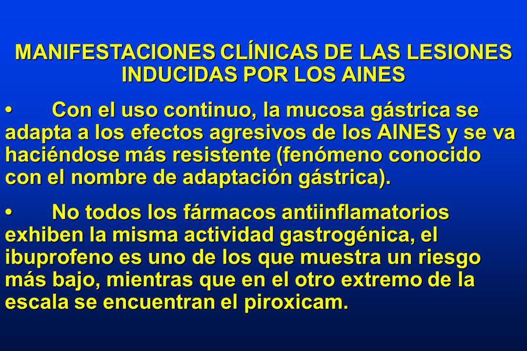 MANIFESTACIONES CLÍNICAS DE LAS LESIONES INDUCIDAS POR LOS AINES Con el uso continuo, la mucosa gástrica se adapta a los efectos agresivos de los AINES y se va haciéndose más resistente (fenómeno conocido con el nombre de adaptación gástrica).Con el uso continuo, la mucosa gástrica se adapta a los efectos agresivos de los AINES y se va haciéndose más resistente (fenómeno conocido con el nombre de adaptación gástrica).