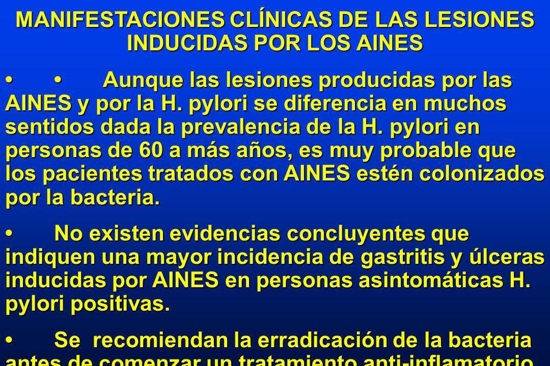 MANIFESTACIONES CLÍNICAS DE LAS LESIONES INDUCIDAS POR LOS AINES Aunque las lesiones producidas por las AINES y por la H.
