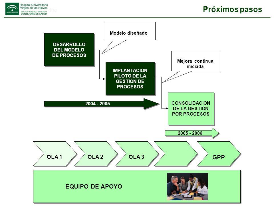 Próximos pasos OLA 1 OLA 2 OLA 3 GPP 2004 - 2005 2005 - 2006 CONSOLIDACION DE LA GESTIÓN POR PROCESOS CONSOLIDACION DE LA GESTIÓN POR PROCESOS DESARRO