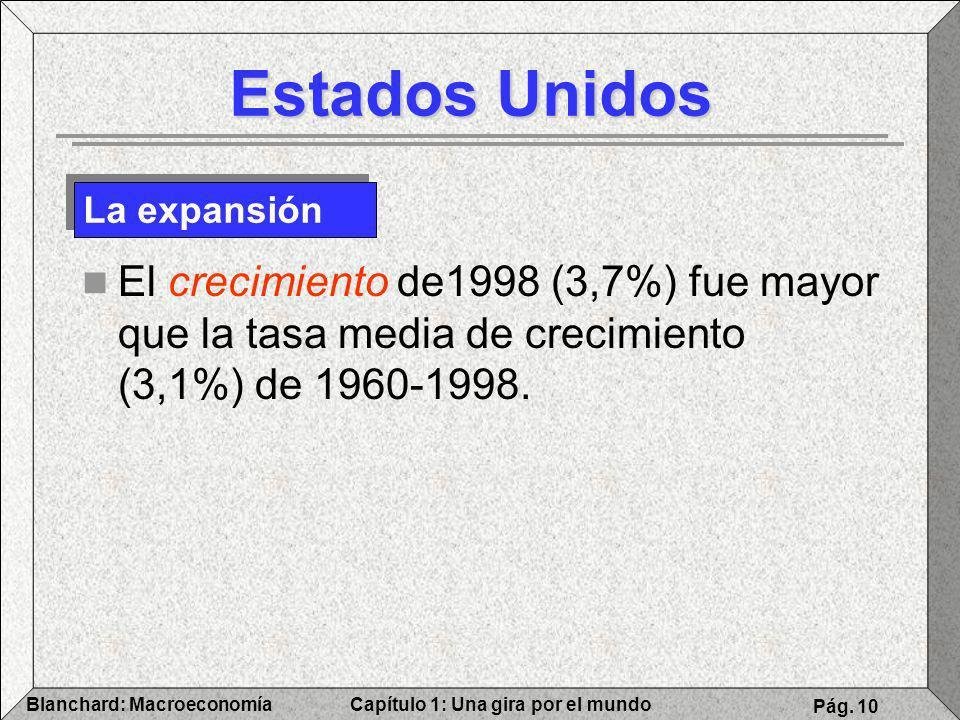 Capítulo 1: Una gira por el mundoBlanchard: Macroeconomía Pág. 10 Estados Unidos El crecimiento de1998 (3,7%) fue mayor que la tasa media de crecimien