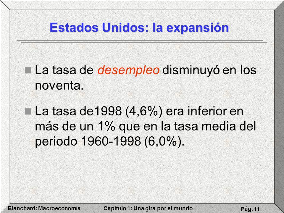 Capítulo 1: Una gira por el mundoBlanchard: Macroeconomía Pág. 11 Estados Unidos: la expansión La tasa de desempleo disminuyó en los noventa. La tasa
