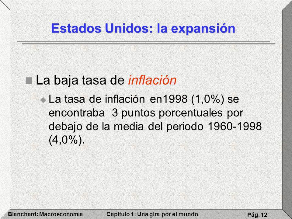 Capítulo 1: Una gira por el mundoBlanchard: Macroeconomía Pág. 12 La baja tasa de inflación La tasa de inflación en1998 (1,0%) se encontraba 3 puntos