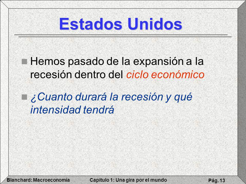 Capítulo 1: Una gira por el mundoBlanchard: Macroeconomía Pág. 13 Estados Unidos Hemos pasado de la expansión a la recesión dentro del ciclo económico