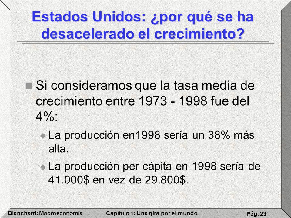 Capítulo 1: Una gira por el mundoBlanchard: Macroeconomía Pág. 23 Si consideramos que la tasa media de crecimiento entre 1973 - 1998 fue del 4%: La pr