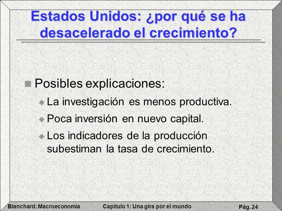 Capítulo 1: Una gira por el mundoBlanchard: Macroeconomía Pág. 24 Posibles explicaciones: La investigación es menos productiva. Poca inversión en nuev