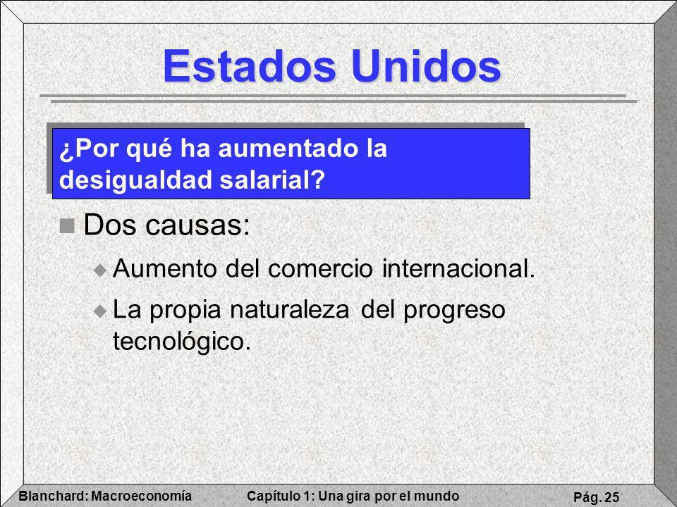 Capítulo 1: Una gira por el mundoBlanchard: Macroeconomía Pág. 25 Estados Unidos Dos causas: Aumento del comercio internacional. La propia naturaleza