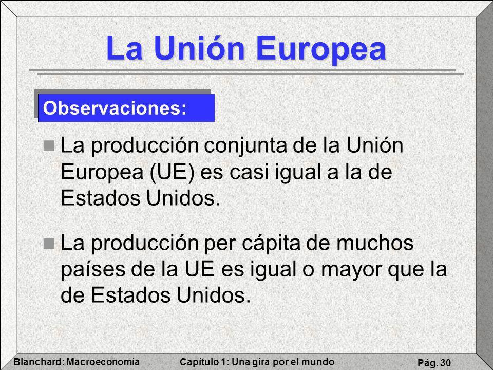 Capítulo 1: Una gira por el mundoBlanchard: Macroeconomía Pág. 30 La Unión Europea La producción conjunta de la Unión Europea (UE) es casi igual a la