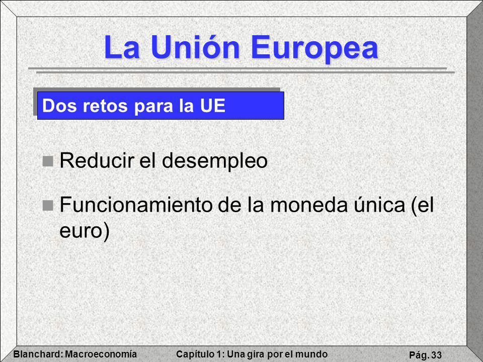 Capítulo 1: Una gira por el mundoBlanchard: Macroeconomía Pág. 33 La Unión Europea Reducir el desempleo Funcionamiento de la moneda única (el euro) Do