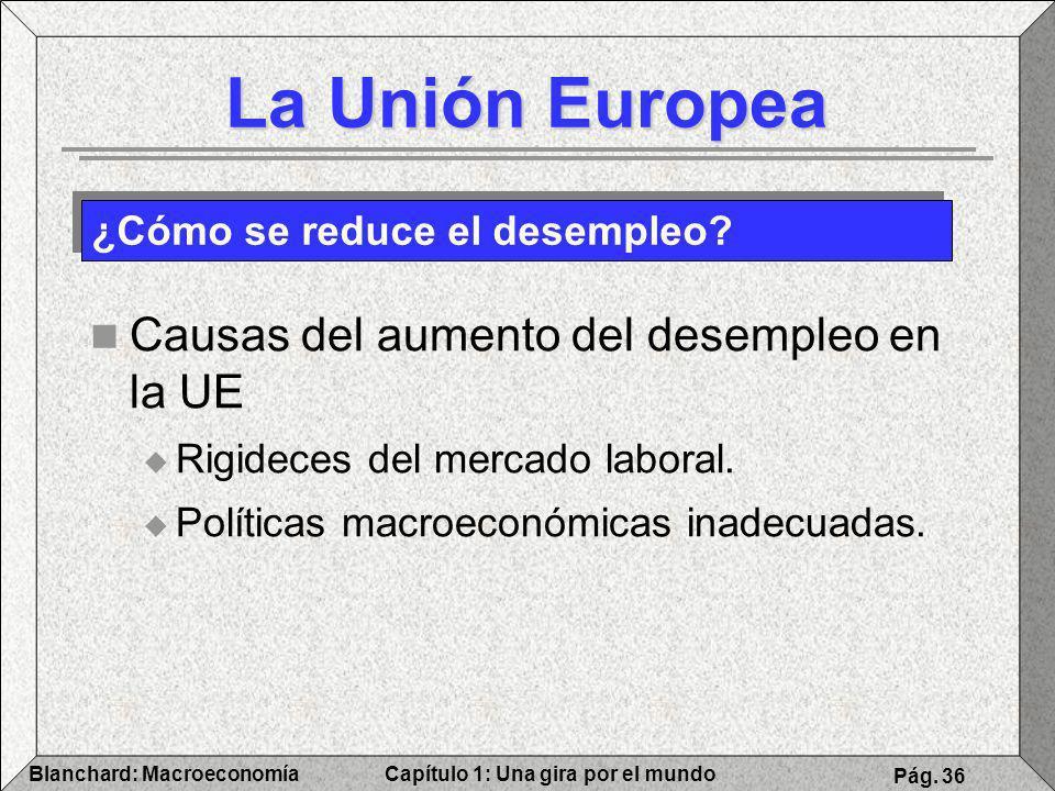 Capítulo 1: Una gira por el mundoBlanchard: Macroeconomía Pág. 36 La Unión Europea Causas del aumento del desempleo en la UE Rigideces del mercado lab