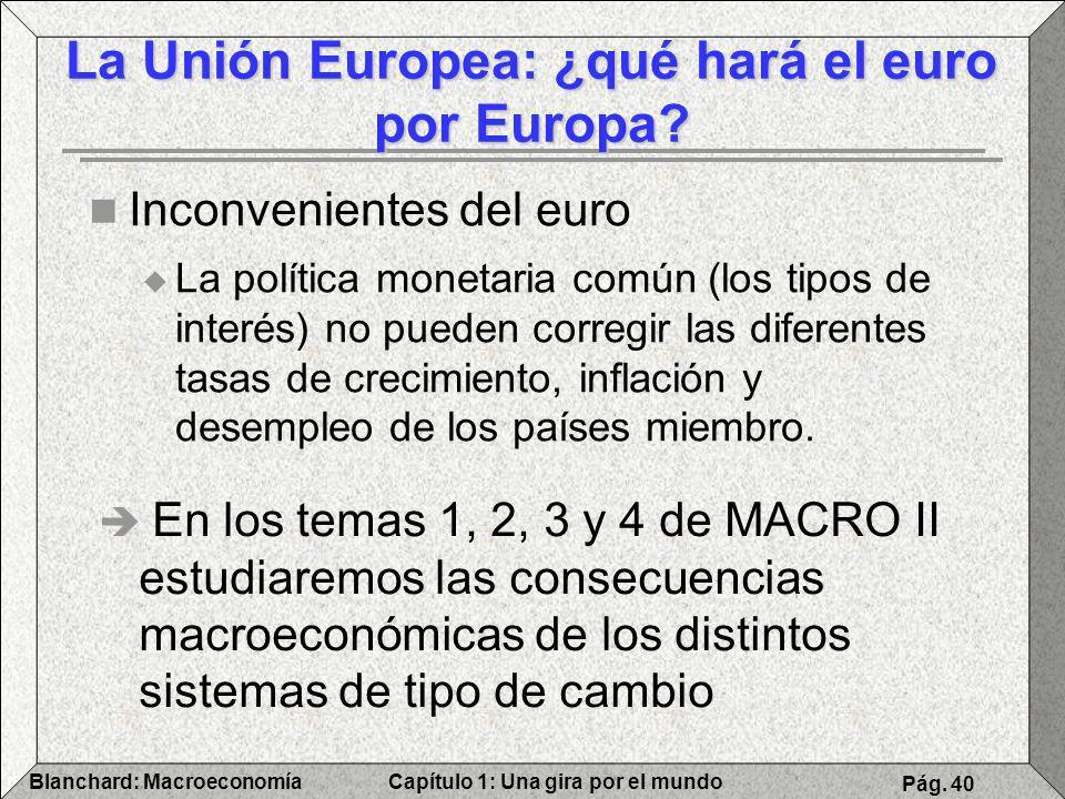 Capítulo 1: Una gira por el mundoBlanchard: Macroeconomía Pág. 40 Inconvenientes del euro La política monetaria común (los tipos de interés) no pueden