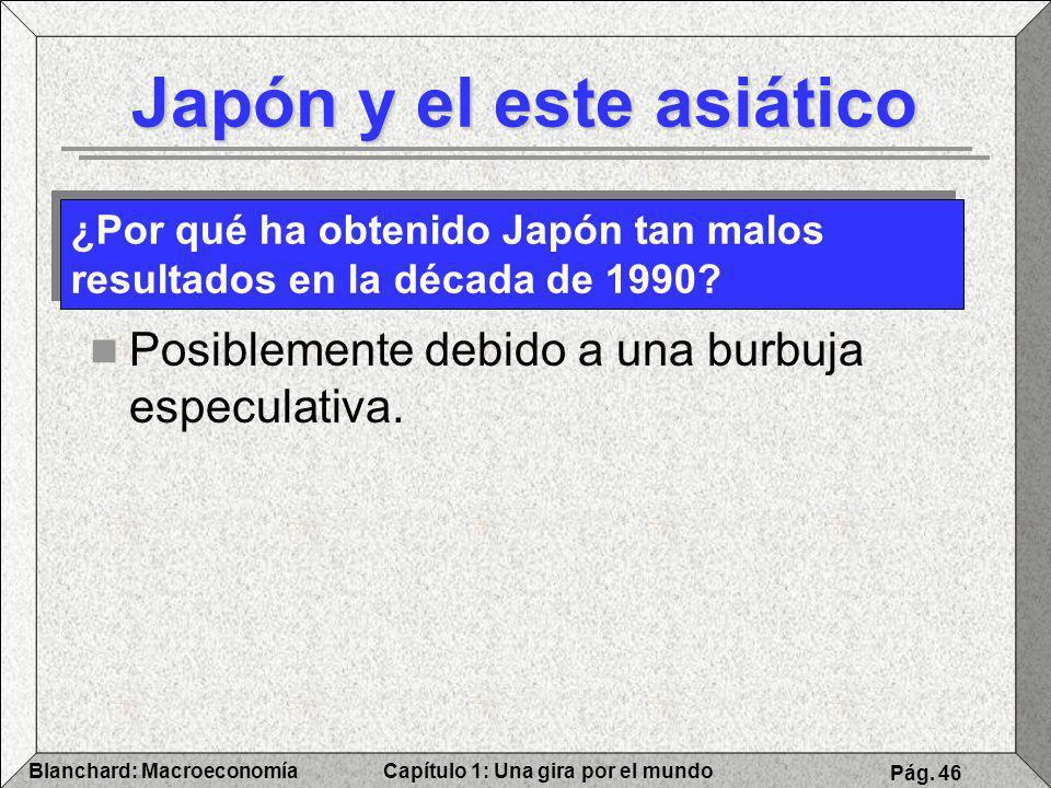 Capítulo 1: Una gira por el mundoBlanchard: Macroeconomía Pág. 46 Japón y el este asiático Posiblemente debido a una burbuja especulativa. ¿Por qué ha