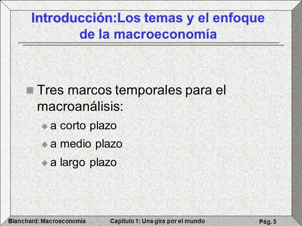 Capítulo 1: Una gira por el mundoBlanchard: Macroeconomía Pág. 5 Introducción: Introducción:Los temas y el enfoque de la macroeconomía Tres marcos tem