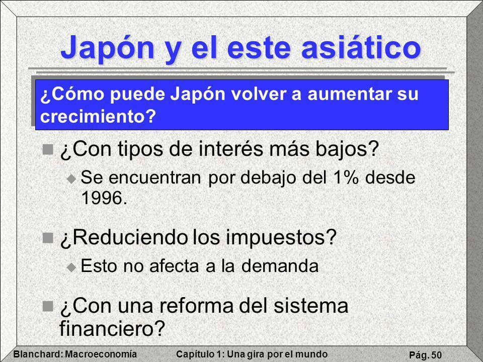 Capítulo 1: Una gira por el mundoBlanchard: Macroeconomía Pág. 50 Japón y el este asiático ¿Con tipos de interés más bajos? Se encuentran por debajo d