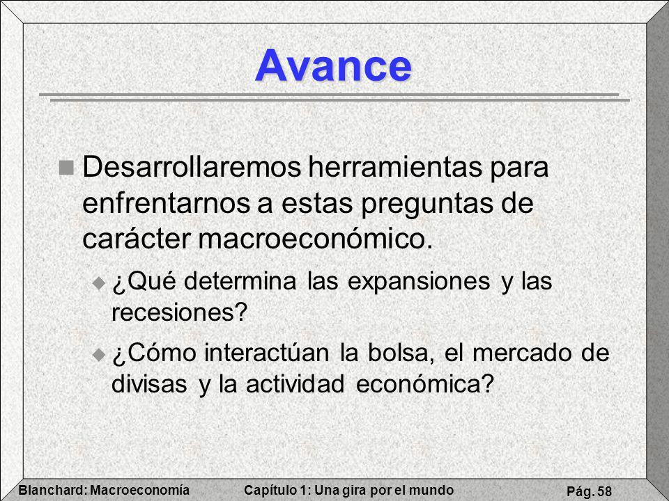 Capítulo 1: Una gira por el mundoBlanchard: Macroeconomía Pág. 58 Avance Desarrollaremos herramientas para enfrentarnos a estas preguntas de carácter