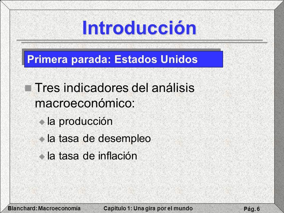 Capítulo 1: Una gira por el mundoBlanchard: Macroeconomía Pág. 6 Introducción Tres indicadores del análisis macroeconómico: la producción la tasa de d