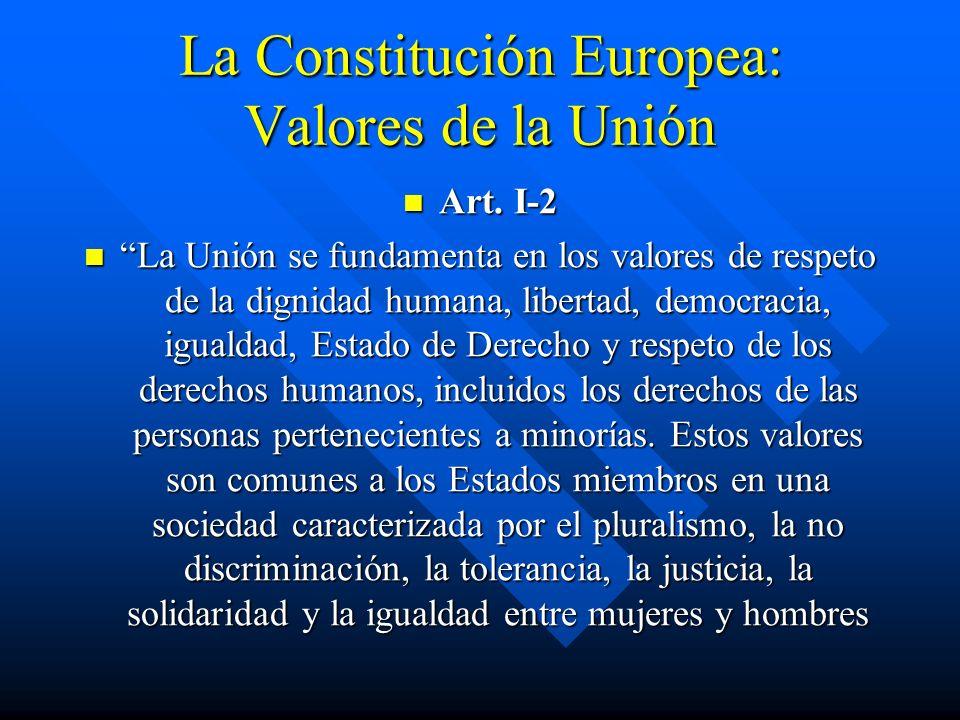 La Constitución Europea: Valores de la Unión Art. I-2 Art. I-2 La Unión se fundamenta en los valores de respeto de la dignidad humana, libertad, democ