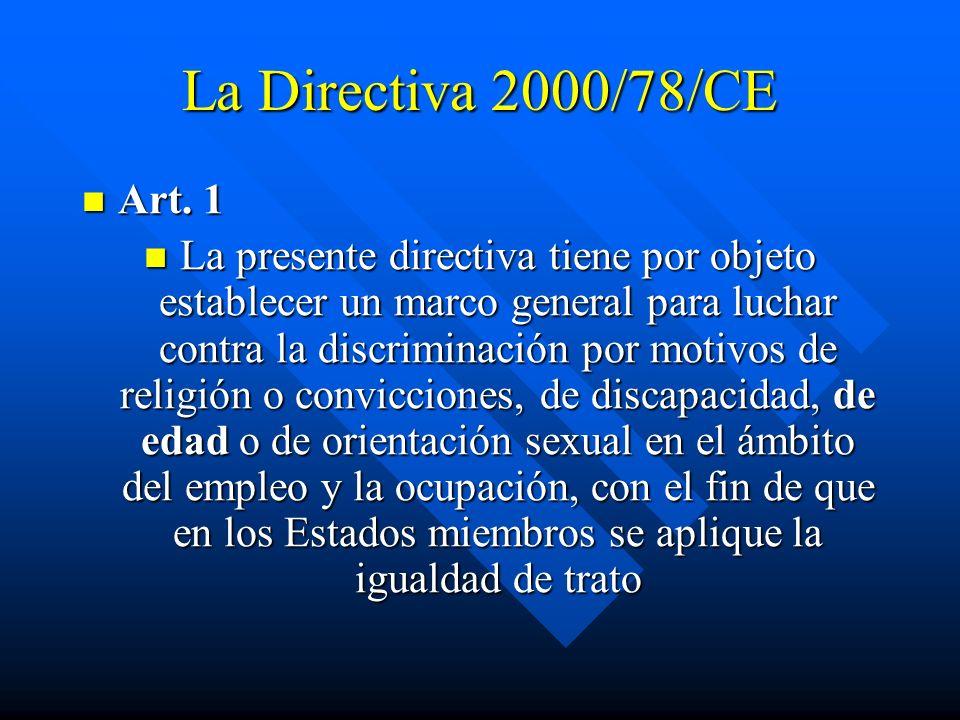 La Directiva 2000/78/CE Art. 1 Art. 1 La presente directiva tiene por objeto establecer un marco general para luchar contra la discriminación por moti