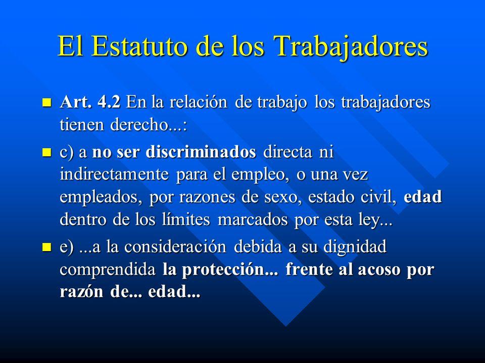 El Estatuto de los Trabajadores Art. 4.2 En la relación de trabajo los trabajadores tienen derecho...: Art. 4.2 En la relación de trabajo los trabajad