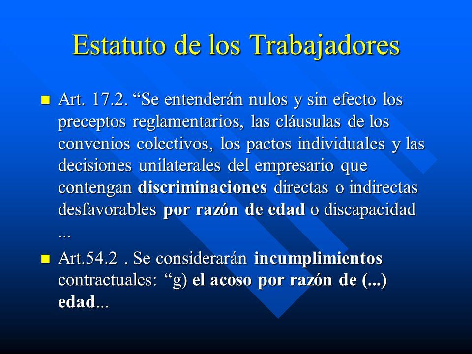 Estatuto de los Trabajadores Art. 17.2. Se entenderán nulos y sin efecto los preceptos reglamentarios, las cláusulas de los convenios colectivos, los