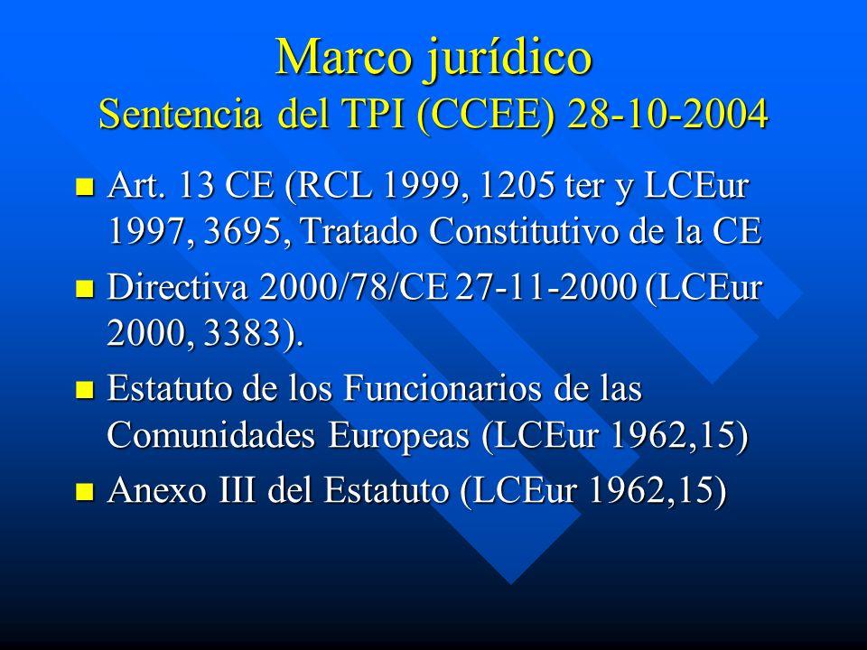 Marco jurídico Sentencia del TPI (CCEE) 28-10-2004 Art. 13 CE (RCL 1999, 1205 ter y LCEur 1997, 3695, Tratado Constitutivo de la CE Art. 13 CE (RCL 19