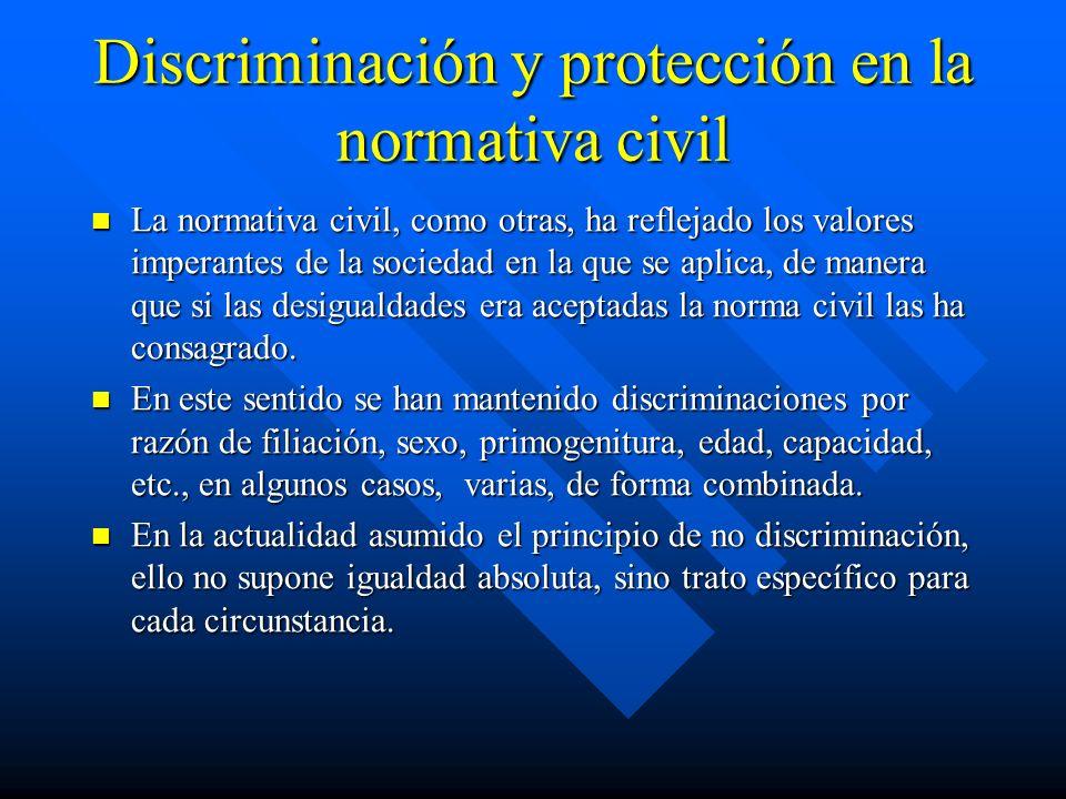 Discriminación y protección en la normativa civil La normativa civil, como otras, ha reflejado los valores imperantes de la sociedad en la que se apli