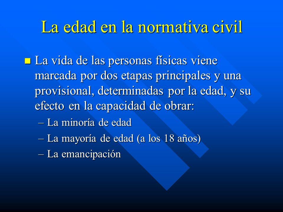 La edad en la normativa civil La vida de las personas físicas viene marcada por dos etapas principales y una provisional, determinadas por la edad, y