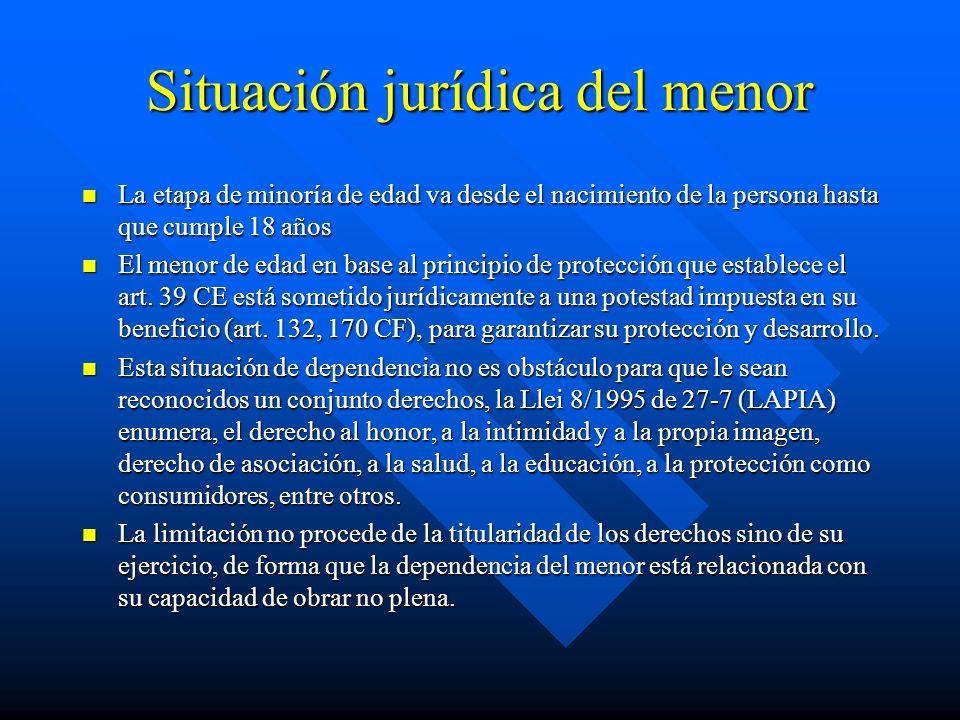 Situación jurídica del menor La etapa de minoría de edad va desde el nacimiento de la persona hasta que cumple 18 años La etapa de minoría de edad va