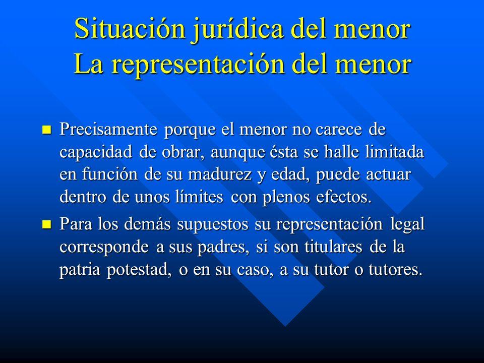 Situación jurídica del menor La representación del menor Precisamente porque el menor no carece de capacidad de obrar, aunque ésta se halle limitada e