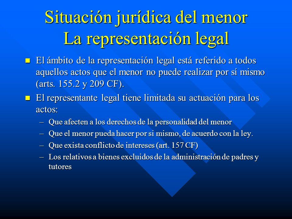 Situación jurídica del menor La representación legal El ámbito de la representación legal está referido a todos aquellos actos que el menor no puede r