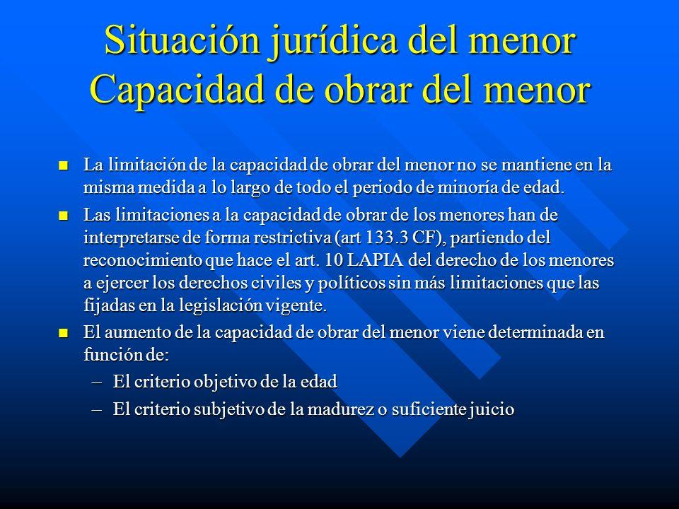 Situación jurídica del menor Capacidad de obrar del menor La limitación de la capacidad de obrar del menor no se mantiene en la misma medida a lo larg